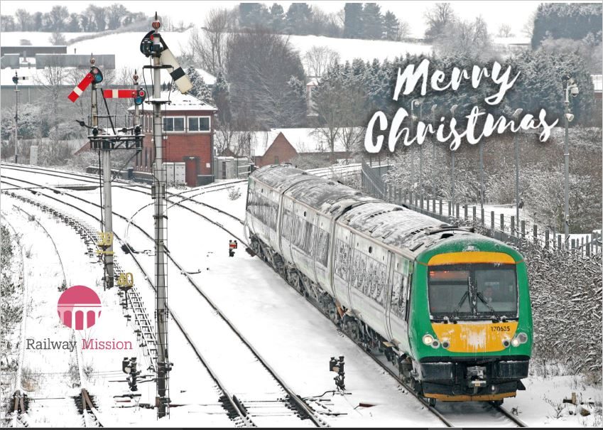 Train and semaphore signals Christmas Card