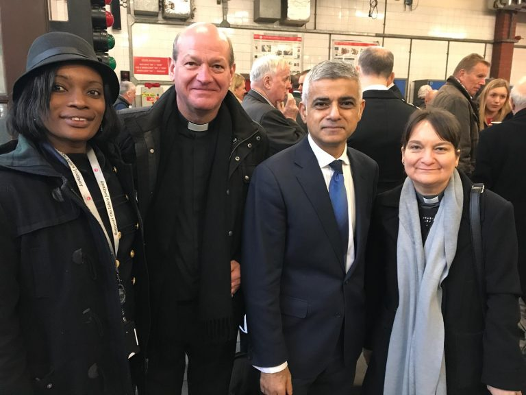 King's Cross Fire: Mr Sadiq Khan, Mayor of London and the chaplaincy team attending the reception after the service at Euston Fire Station